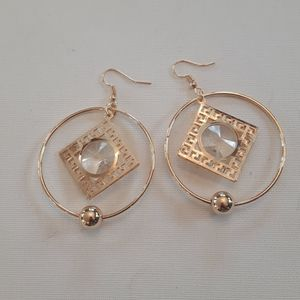 2/$15 gold plated hoop Suncatcher earrings